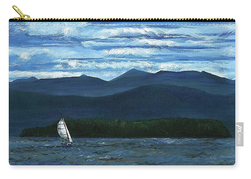 Landscape Carry-all Pouch featuring the painting Juniper Island Lake Champlain Vt/ny by Judith Rice