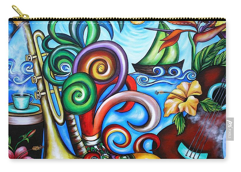 Cuba Carry-all Pouch featuring the painting Just A Day In Paradise by Annie Maxwell