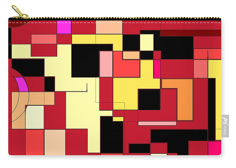 Red Carry-all Pouch featuring the digital art Just Colors And Lines Red by Mary Bedy