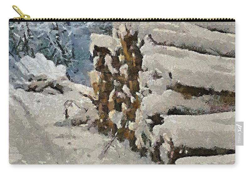 Firewood Carry-all Pouch featuring the painting Just In Case by Dragica Micki Fortuna