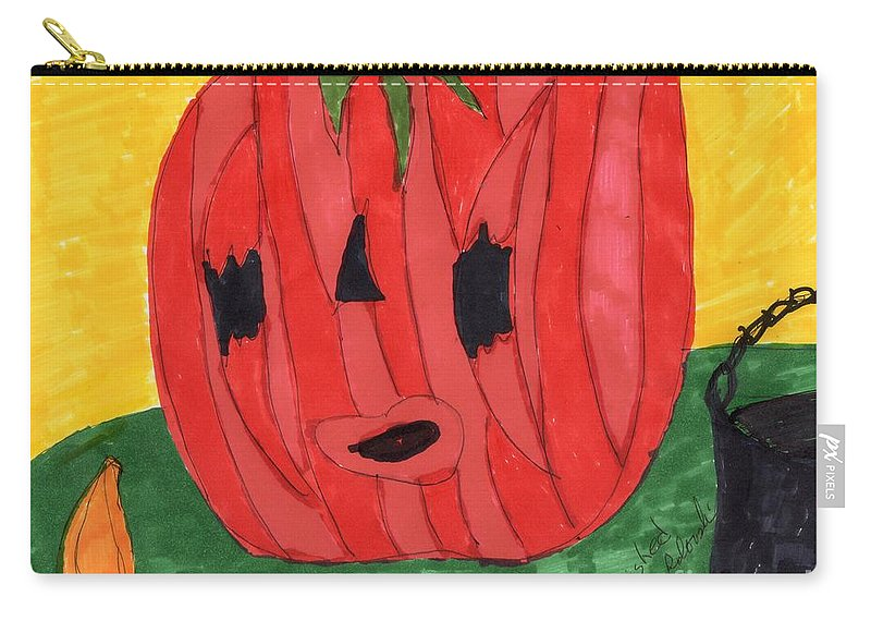 Carved Pumpkin Black Bucket Carry-all Pouch featuring the mixed media Just In Time by Elinor Helen Rakowski