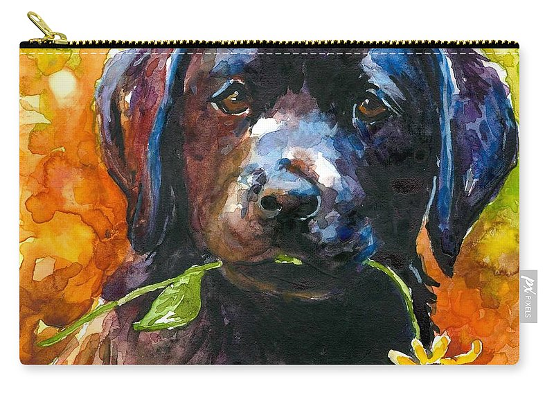 Black Lab Puppy Carry-all Pouch featuring the painting Just Picked by Molly Poole