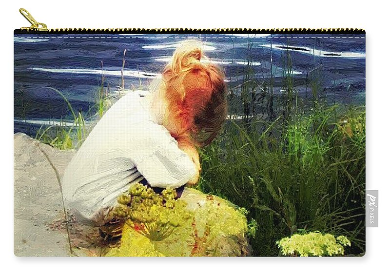 Child Carry-all Pouch featuring the painting Just Thinkin' by RC DeWinter