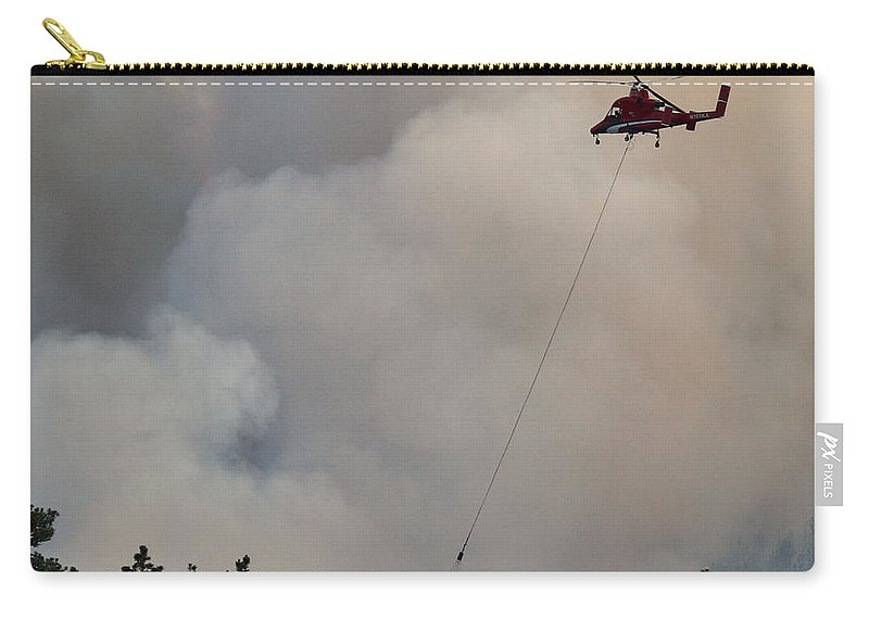 Myrtle Fire Carry-all Pouch featuring the photograph K-max Helicopter On Myrtle Fire by Bill Gabbert