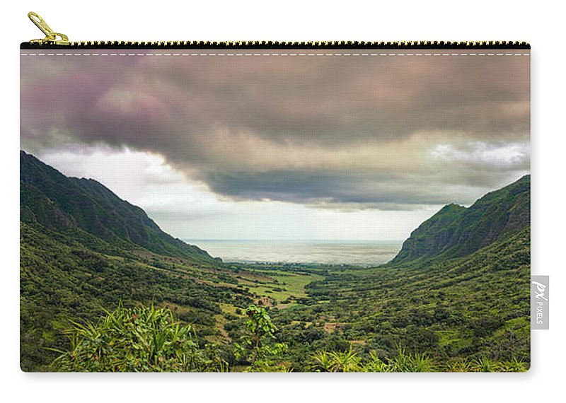 Hawaii Carry-all Pouch featuring the photograph Kaaawa Valley Panorama by Dan McManus
