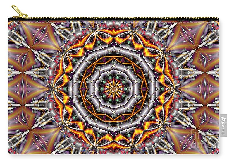 Kaleidoscope Carry-all Pouch featuring the digital art Kaleidoscope 41 by Ron Bissett