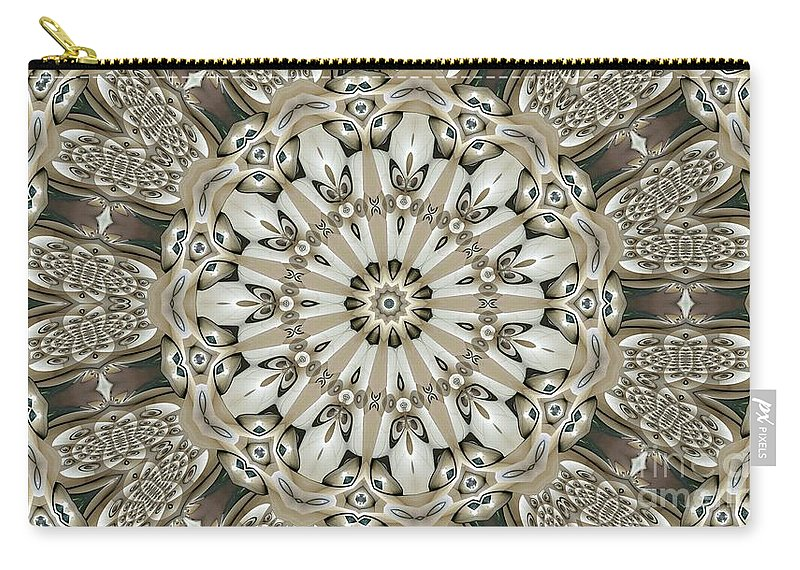 Kaleidoscope Carry-all Pouch featuring the digital art Kaleidoscope 53 by Ron Bissett