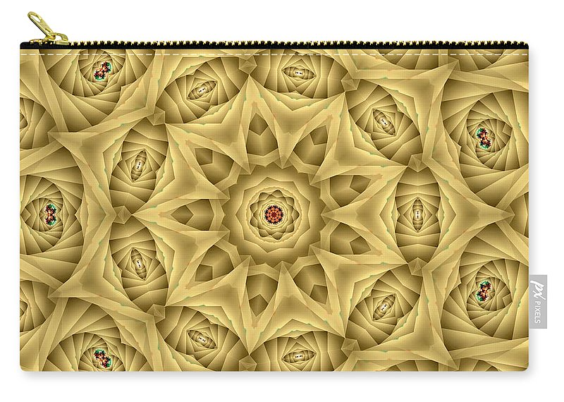 Kaleidoscope Carry-all Pouch featuring the digital art Kaleidoscope 76 by Ron Bissett