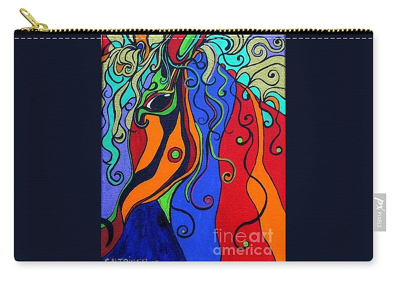 Horse Carry-all Pouch featuring the painting Kaleidoscope Eyes by Alison Caltrider