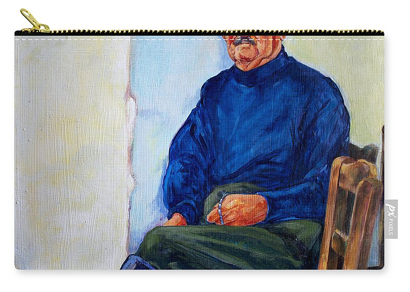 Greece Carry-all Pouch featuring the painting Kalispera by Derrick Higgins