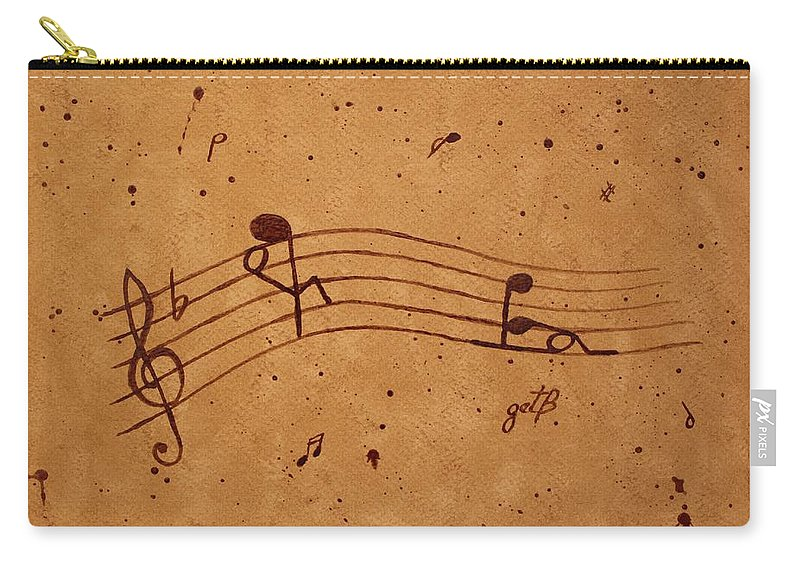 Abstract Music Carry-all Pouch featuring the painting Kamasutra Abstract Music 2 Coffee Painting by Georgeta Blanaru