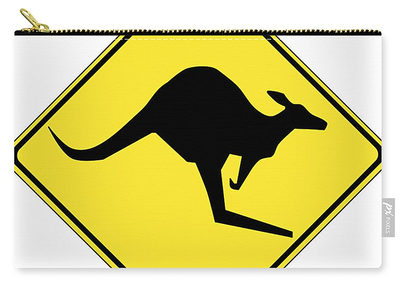 Kangaroo Crossing Sign Carry-all Pouch featuring the digital art Kangaroo Crossing Sign by Marvin Blaine