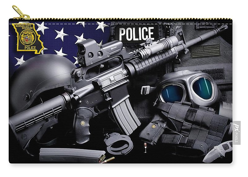 Kansas City Pd Carry-all Pouch featuring the photograph Kansas City Police by Gary Yost