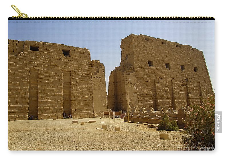 Egypt Carry-all Pouch featuring the photograph Karnak Temple 04 by Antony McAulay