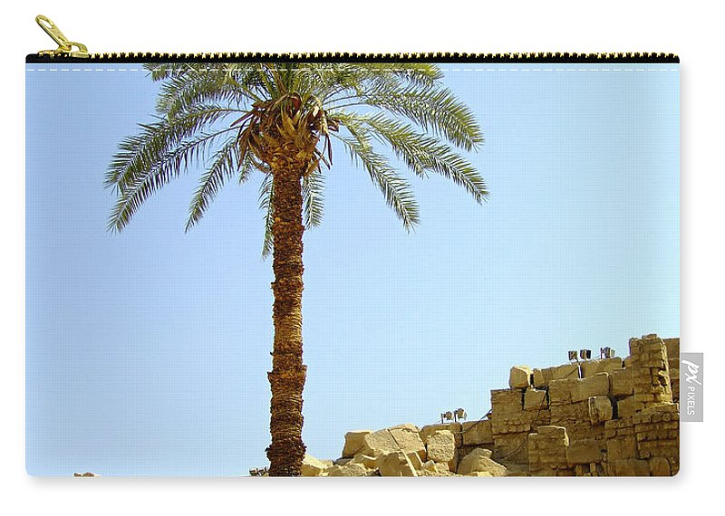 Palm Carry-all Pouch featuring the photograph Karnak Temple 12 by Antony McAulay