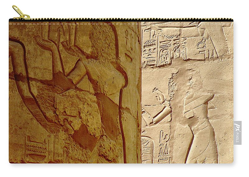 Egypt Carry-all Pouch featuring the photograph Karnak Temple Detail by Antony McAulay