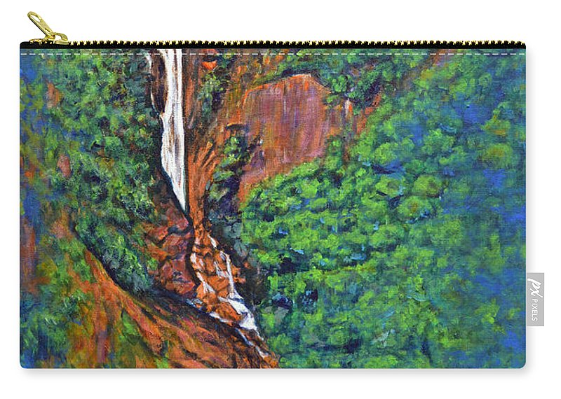 Katherine Falls Carry-all Pouch featuring the painting Katherine Falls by Usha Shantharam