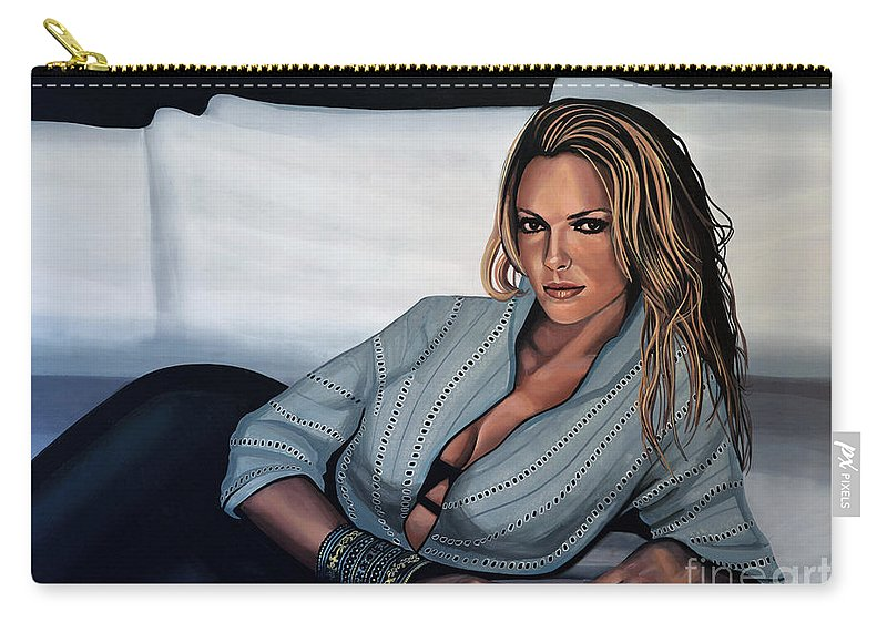 Katherine Heigl Carry-all Pouch featuring the painting Katherine Heigl by Paul Meijering