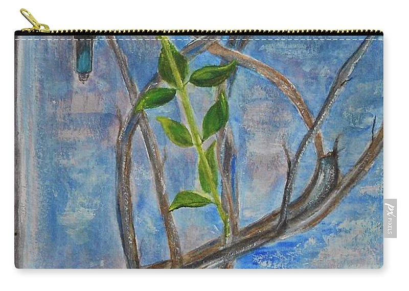 Vine Carry-all Pouch featuring the painting Kathy's Wall And Vine by Jamie Frier