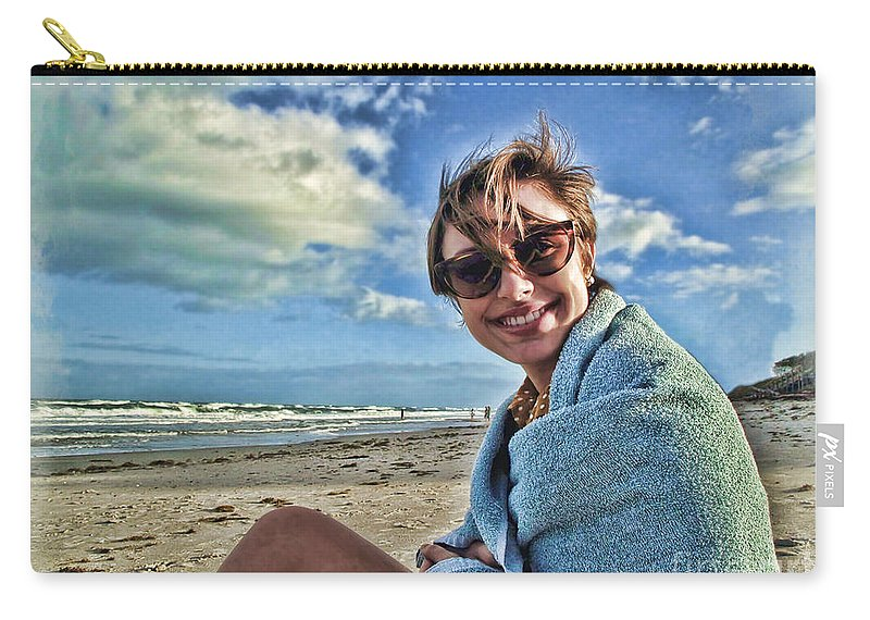 Portrait Carry-all Pouch featuring the photograph Katie And The Beach by Joan Minchak