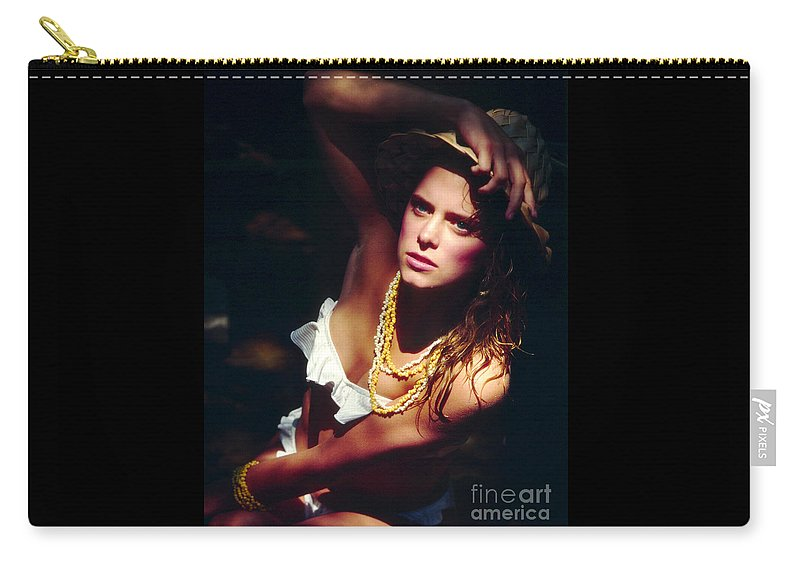 Model Carry-all Pouch featuring the photograph Katie White Hat by Gary Gingrich Galleries