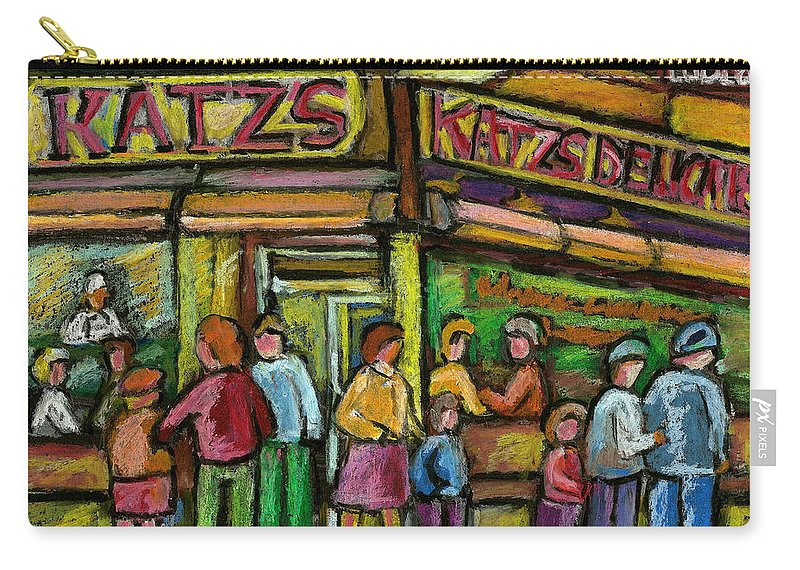 Katz's Deli Carry-all Pouch featuring the painting Katz's Deli by Carole Spandau