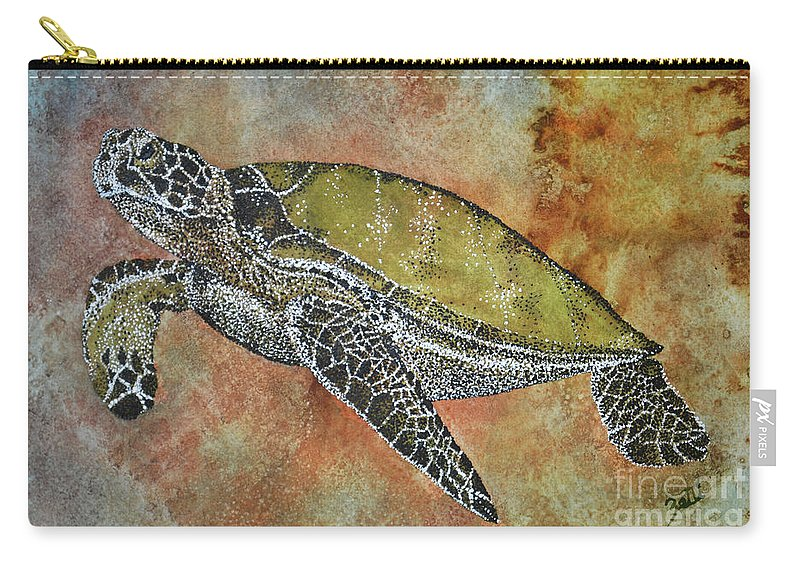 Honu Carry-all Pouch featuring the painting Kauila Guardian Of Children by Suzette Kallen