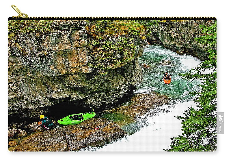 Kayakers In Maligne Canyon In Jasper Np Carry-all Pouch featuring the photograph Kayakers In Maligne Canyon In Jasper Np-alberta by Ruth Hager