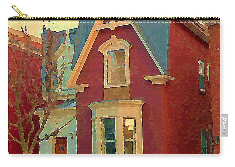 Pointe St Charles Carry-all Pouch featuring the painting Keep A Light In The Window Til I Come Home Again Winter House Pointe St Charles City Scene Cspandau by Carole Spandau