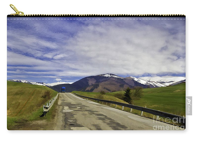 Blue Carry-all Pouch featuring the photograph Keep On Trucking by Les Palenik