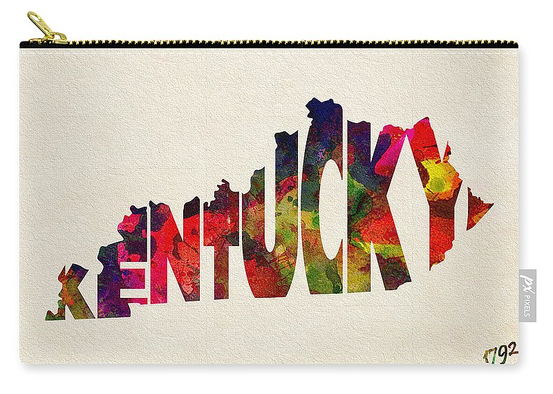 Kentucky Carry-all Pouch featuring the painting Kentucky Typographic Watercolor Map by Inspirowl Design