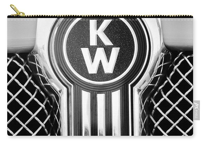 Kenworth Truck Emblem Carry-all Pouch featuring the photograph Kenworth Truck Emblem -1196bw by Jill Reger