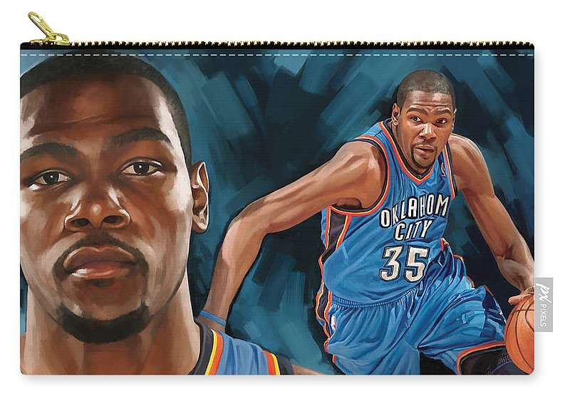 Kevin Durant Carry-all Pouch featuring the painting Kevin Durant Artwork by Sheraz A
