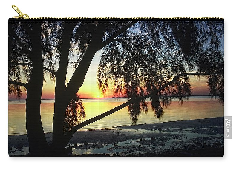 Key Biscayne Sunset Carry-all Pouch featuring the photograph Key Biscayne Sunset by Allen Beatty