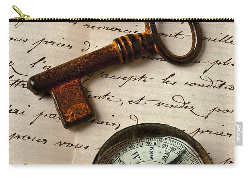 Ring Carry-all Pouch featuring the photograph Key Ring And Compass by Garry Gay