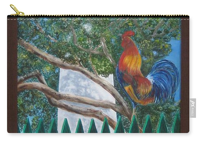 Landscape Carry-all Pouch featuring the painting Key West Lighthouse Rooster by Linda Cabrera