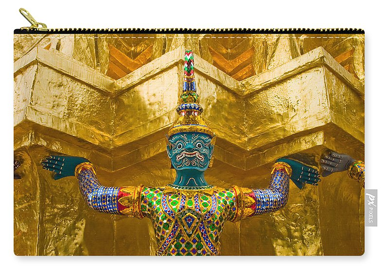 3scape Carry-all Pouch featuring the photograph Khon Guard by Adam Romanowicz