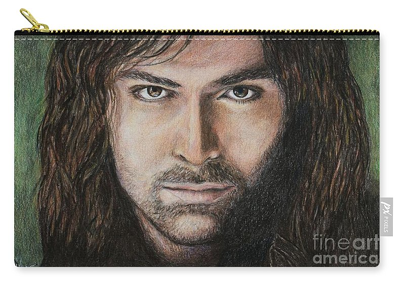 Kili Carry-all Pouch featuring the drawing Kili The Dwarf by Christine Jepsen