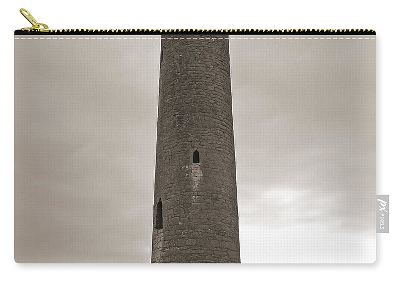 Kilmacduagh Carry-all Pouch featuring the photograph Kilmacdaugh Tower- Antique Black And White by Shanna Hyatt