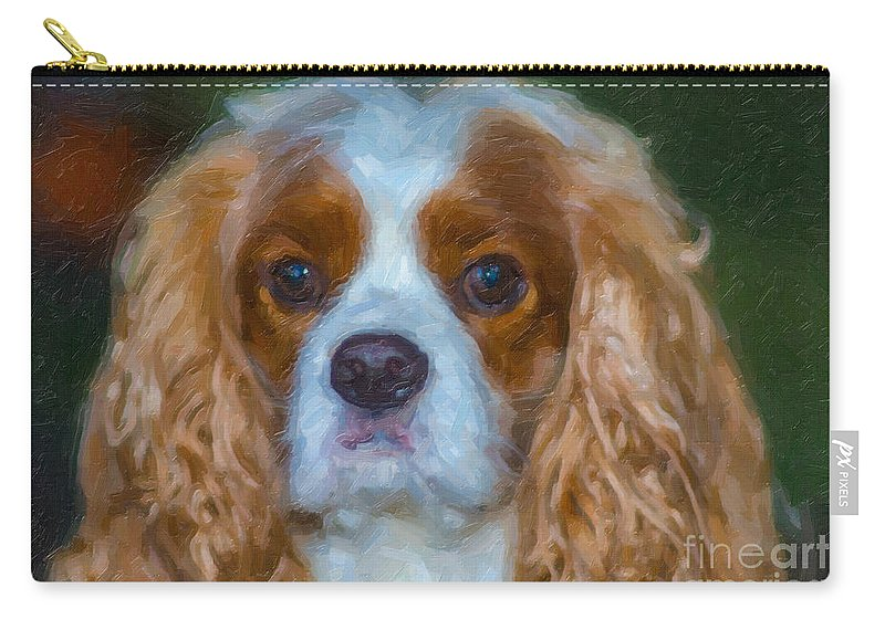 Cavalier King Charles Spaniel Carry-all Pouch featuring the digital art King Charles Spaniel by Dale Powell