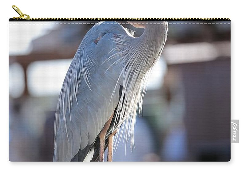 Heron Carry-all Pouch featuring the photograph King Of The Boardwalk by Carol Groenen