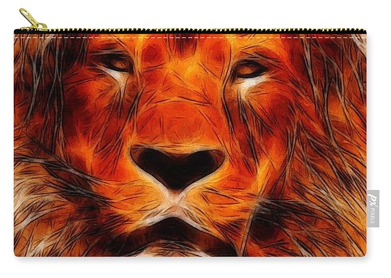 Lion King Portrait Animal Jungle Africa Safari Hunter Zoo Expressionism Impressionism Face Painting Abstract Danger Dangerous Majestic Carry-all Pouch featuring the painting King Of The Jungle by Steve K