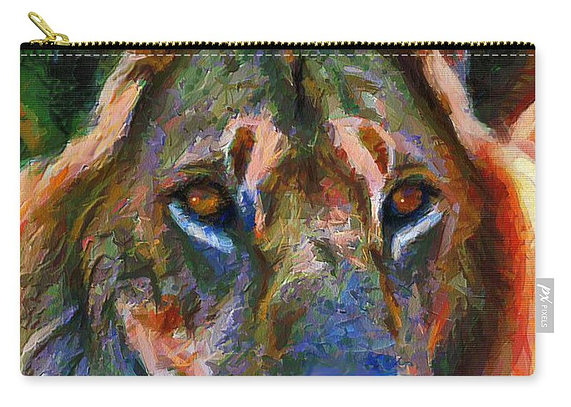 Lion Carry-all Pouch featuring the mixed media King Of The Wilderness by Georgiana Romanovna