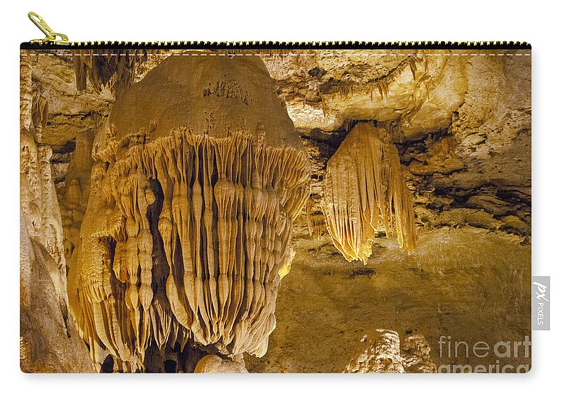 King's Throne Natural Bridge Caverns San Antonio Texas Cave Caves Caverns Rock Formation Formations Stalactite Stalagmite Stalactites Stalagmites Underground Carry-all Pouch featuring the photograph King's Throne by Bob Phillips