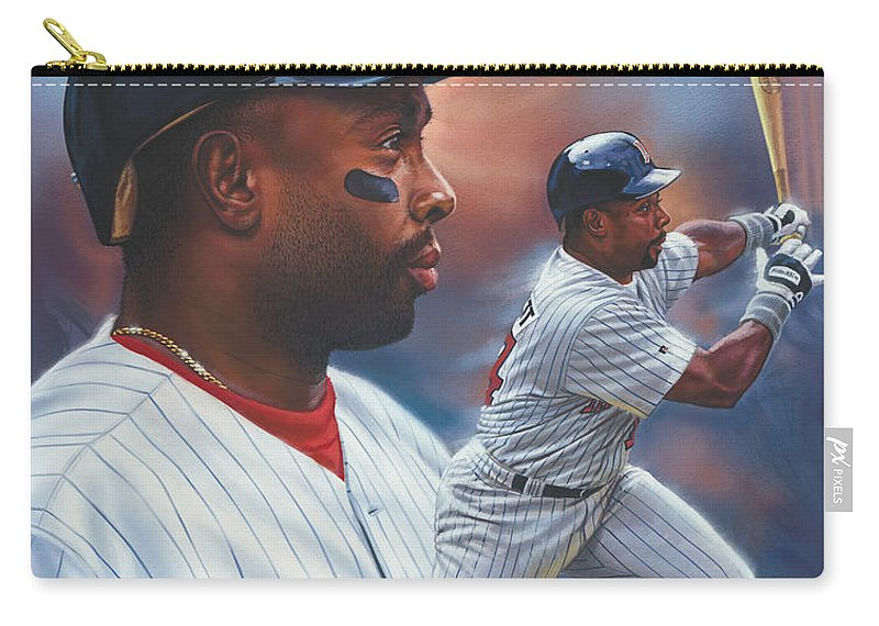 Portrait Carry-all Pouch featuring the painting Kirby Puckett Minnesota Twins by Dick Bobnick