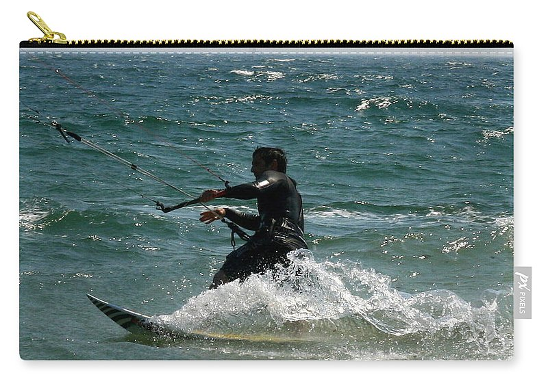 Ocean Carry-all Pouch featuring the photograph Kite Boarding Fun by Neal Eslinger