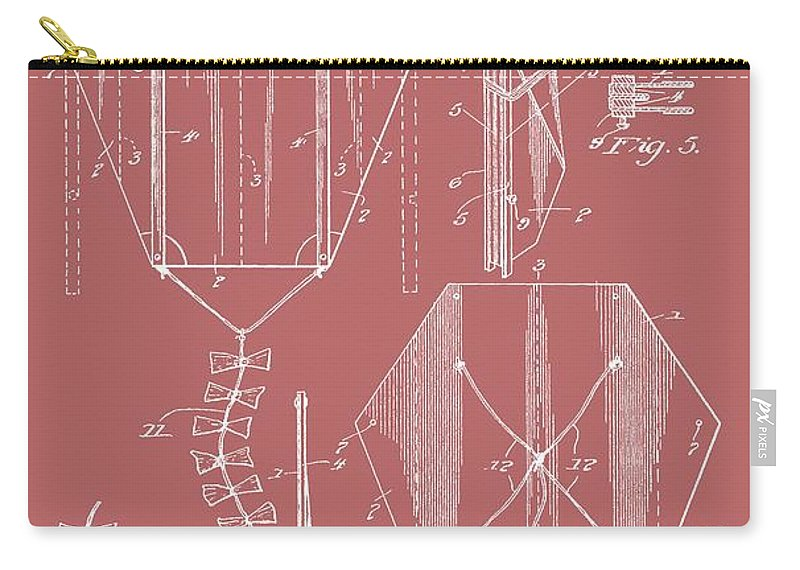 Vintage Kite Patent Carry-all Pouch featuring the digital art Kite Patent On Red by Dan Sproul