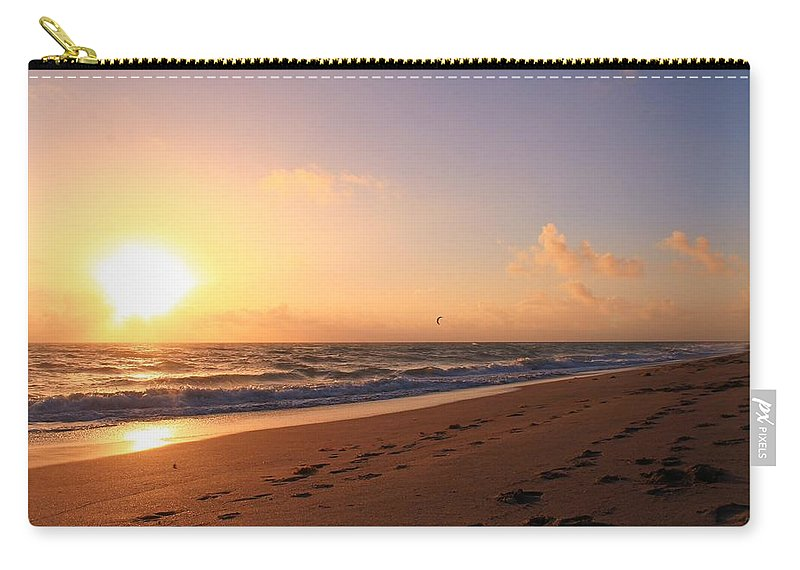Jupiter Carry-all Pouch featuring the photograph Kite Surfing by Catie Canetti