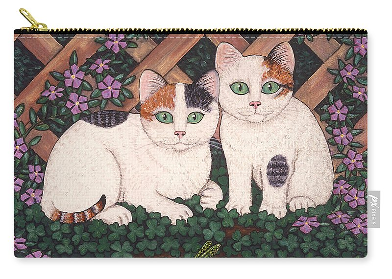 Cats Carry-all Pouch featuring the painting Kittens And Clover by Linda Mears