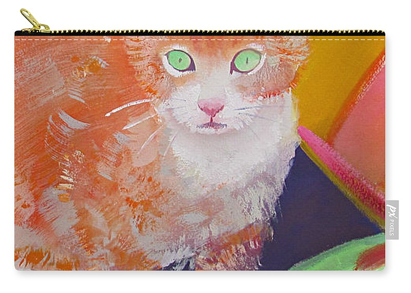 Kittens Carry-all Pouch featuring the painting kittens With A Ball of Wool by Charles Stuart